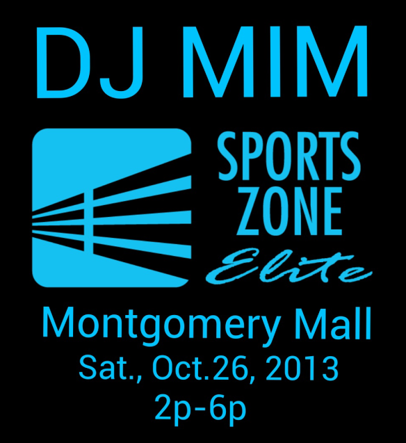 DJ MIM spinning in Sports Zone Montgomery Mall
